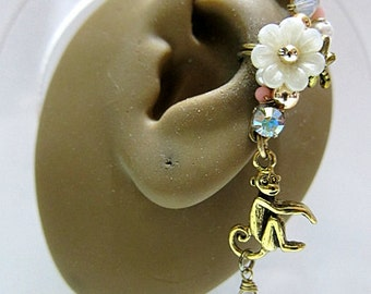 Monkey With White Flower And Lilac Cubic Zirconia Ear Cuff Earring Flower Crystals Jungle Forest Wild Animal Cuff Earring