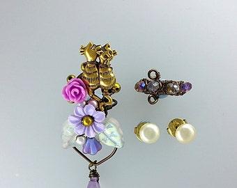 Lover Cats Ear Cuffs With Vintage Pearl Studs, Kitten Ear Cuff, Cat Earrings, Kitty Jewelry, Animal Earcuff, Cat Jewelry