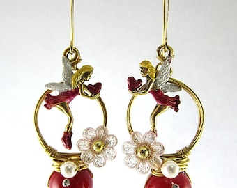 Love Fairy With Red Crystals Coral Earrings Flower Elegant Fay Fantasy Woodland Fairytale Hoop