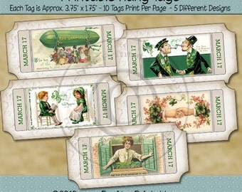 St Patricks Day Tags Ticket Shaped Printable Hang Tags or Labels - March 17 Irish - Digital Print PDF and/or JPG File