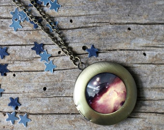 Stars in Scorpius Round Locket - Galaxy Pendant Necklace - Unique Astronomy Gift - Outer Space Necklace - Astrology, Nebula, Gold or Silver