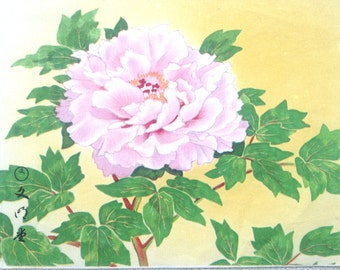 Vintage Japanese Print -  Flower Print - Peony - Package Cut Out - Flower Painting