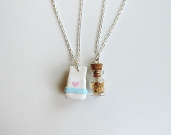 Milk and Cookies Best Friends Necklaces Set Polymer Clay Jewelry