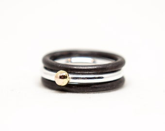 14k Gold Nugget and Oxidized Black Silver Stacking Ring Set of Three