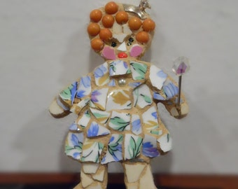 Broken china mosaic  girl with crown and scepter or wand  art doll collectible atc artist offering