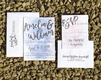 Watercolor Wedding Invitation - Rose Quartz & Blue - Wedding Invitation - Custom