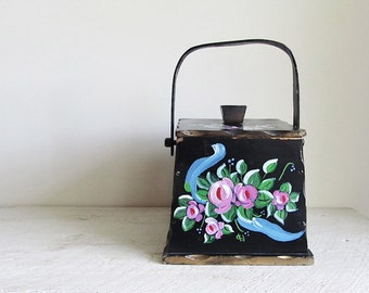 Vintage Hand Painted Toleware Wood Box With Lid