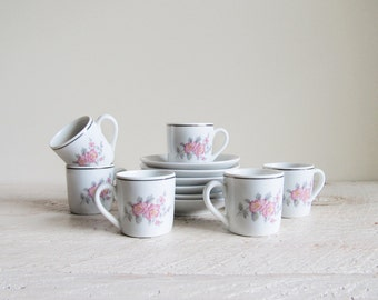 Vintage Real Brasil Porcelana China Demitasse Cup and Saucer Set for 6