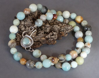 Amazonite Necklace, Silk Knotted, Handmade Clasp, Metalwork Clasp