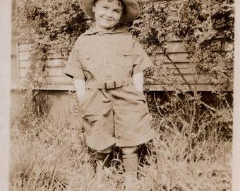 vintage photo Cutest Little Boy in Romper Huckleberry Finn vintage snapshot