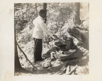 vintage photo 1938 African American Camp Cook Chef Tennessee Outdoor Cooking