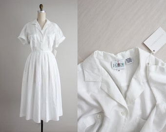 RESERVED ITEM! white linen dress | vintage crew dress | white shirtdress