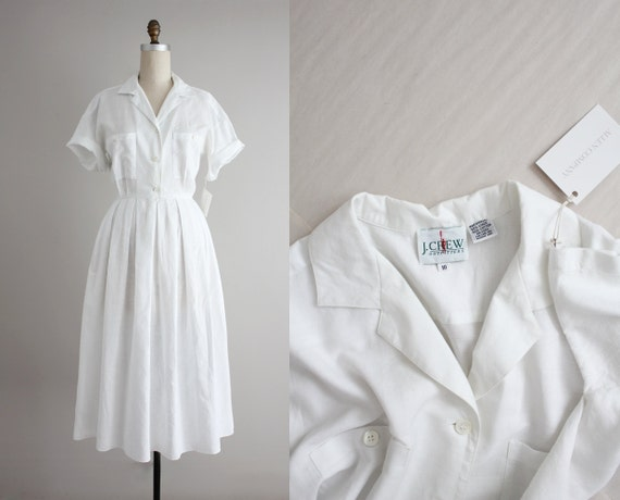 white linen dress | vintage j crew dress | white shirtdress