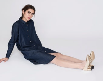 NEW Denim Shirt Dress Anne. Loose Maxi Indigo Minimal Shirt Dress. Fall Fashion Long Sleeved Women Shirt. Relax Oversized Boxy Shirt Dress