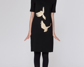 Embroidered Pinafore Paule Jumper. Black Structured Modern Jumper Dress. Metallic Gold Embroidery Dress. Gold Foil Birds