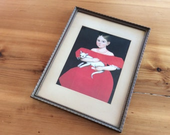 American Folk Art Framed Portrait Print. Ammi Phillips Girl in the Red Dress with Cat. Vintage Wall Art. White Cat Painting.