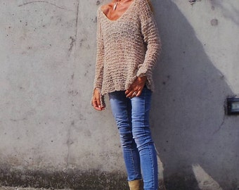 Bleige sweater / alpaca mix light weight v neck sweater