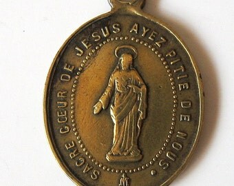Antique Sacred Heart of Jesus Our Lady of the Sacred Heart 1800s French Religious Medal Pendant Charm