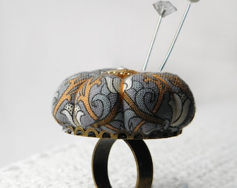 Morocco Inspired Pincushion Ring - Grey and Amber Lilies