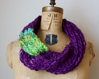 Cyber Monday SALE! Bohemian knit merino loop infinity scarf. Purple. Seafoam. Mint. Handmade knitwear. Handcrafted circle scarf.