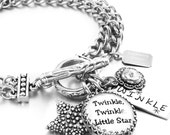 Silver Charm Bracelet, Inspirational Jewelry, Stainless Steel Jewelry, Star Charms,Twinkle Twinkle Little Star