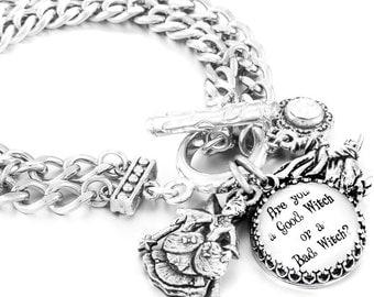 Good Witch Bad Witch Charm Bracelet, Silver Wicca Jewelry, Stainless Steel Bracelet, Wizard of Oz Charm Bracelet