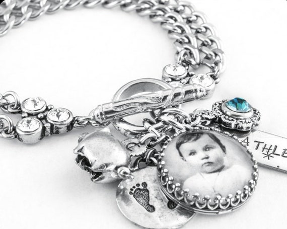Baby Charm Bracelet, Baby Photo, Stainless Steel Charm Bracelet, Baby Jewelry, Personalized Childs Bracelet