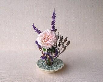 Ceramic Flower Vase, Handmade Pottery, Tatted Doily Lace Vase, Petite Ikebana Vase, green & white