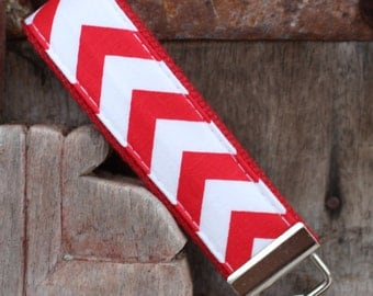Key Fob/Keychain/Wristlet-Red Chevron on Red