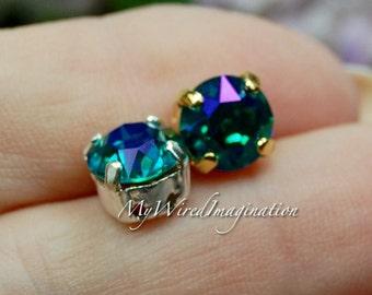 Blue Zircon Glacier Blue, Genuine Swarovski, 39ss/8mm Crystal in Setting, Rhinestone Sew On, Swarovski 8mm Chaton, December Birthstone
