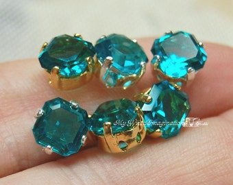 6 Pcs Blue Zircon 6mm Vintage West German Double Cut Square Octagon Jewelry Supply with Sew On Setting December Birthstone