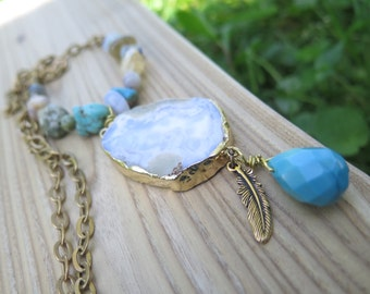 Long Agate Stone Pendant & Brass Chain Necklace - Turquoise Yellow Soft Blue - Natural Bohemian Jewelry -  Dangle Feather - Crystal Jewelry