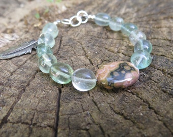 Ocean Jasper and Fluorite Bracelet with Feather Charm - Healing Crystals - Gemstone Jewelry - Boho Beautiful Natural Earthy - Mint Green