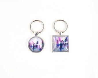Pink Key Chain, Colorful Art Print Key Ring, Car Keys, Teen Gift, Sister Birthday Gift, Coworker Gift, Bridesmaids Gifts, Groomsman