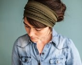 Olive Elegance Stretch Headwrap Garlands of Grace headband headcovering hair wrap