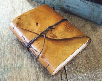 """Leather Journal . Mark Twain quote: """"Explore. Dream. Discover."""" handmade handbound . hand-dyed rusty brown  (320 pgs)"""