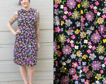 60's MOD dress in LARGE // Handmade Vintage // Flower Power // Go go dress // Mad MOD // Twiggy // Warhol // Women's Large Midi Dress