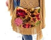 RESERVED FOR APRILPretty Victorian floral velvet boho bag with fringe