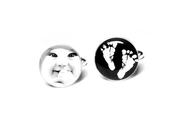 Custom Cufflinks, Footprint Cufflinks, Baby Footprint, Handmade, Handprint Cufflinks, Personalized Keepsake For Dad, Anniversary, Cufflinks