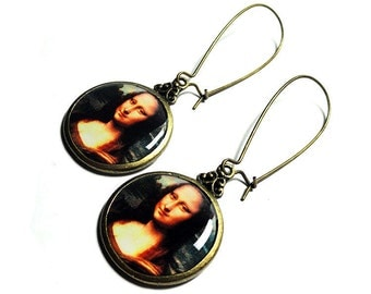 Da Vinci Fine Art Earrings, Mona Lisa Earrings, Dangle Earrings, Leonardo Da Vinci, Handmade, Resin Jewelry,  Gift for Her, Handmade Jewelry