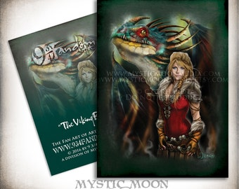 The Viking Beauty... ACEO / ATC... Astrid Inspired Collectors Card.. Inspired by How to Train Your Dragon... With Stormfly