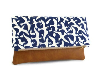 IMAN - Featured in Refinery29 and Organic Beauty Talk - Iman Blue Birds Designer Print - Foldover Clutch