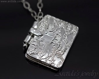 Book Locket Necklace Ornate Book Pendant Fine Silver jewelry custom photo pendant OOAK miniature book