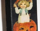Primitive Style Standing Wood Block Cute Halloween Decoration Adorable Little Pumpkin Boy