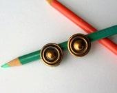 50s 60s Earrings Copper Clip On Earrings Mid Century Modern Jewelry Round Earrings