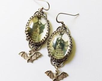 Batgirl Earrings - Halloween Jewelry - Victorian Halloween - Victorian Bat Girl - Gothic Earrings - Goth Earrings - Halloween Costume - Gift