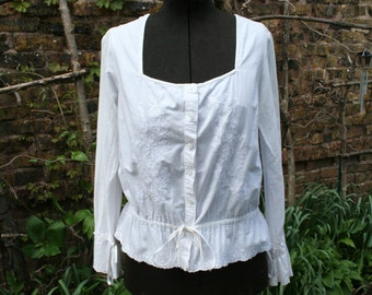 White cotton embroidered India hippe top long sleeve peasant square neck  medium