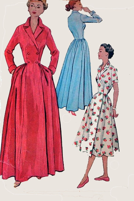 1950s Double Breasted Dressing Gown Boudoir Robe/Housecoat Wrap Dress McCalls 8092 Vintage 50s Rockabilly Sewing Pattern Size 12 Bust 30