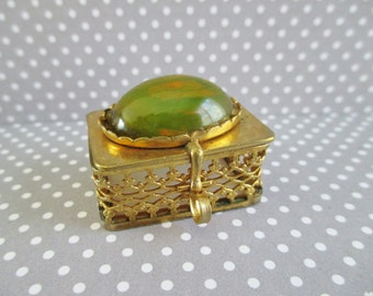 Little Vintage Brass Filligree and Stone Pill Box