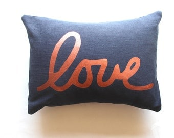 Navy Blue and Copper Love Pillow - Love Throw Pillow - Autumn Decor Love Pillow Cover - Hand Printed decorative pillow